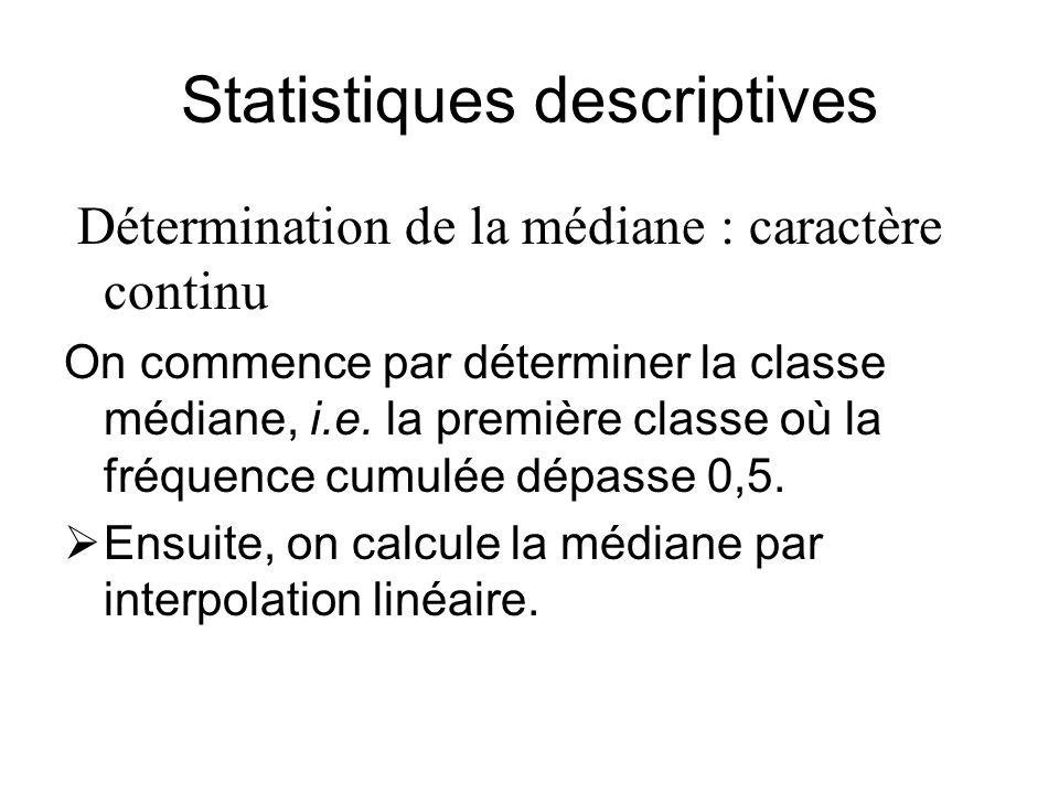 Statistiques descriptives Détermination de la médiane : caractère continu On commence par déterminer la classe médiane, i.e. la première classe où la
