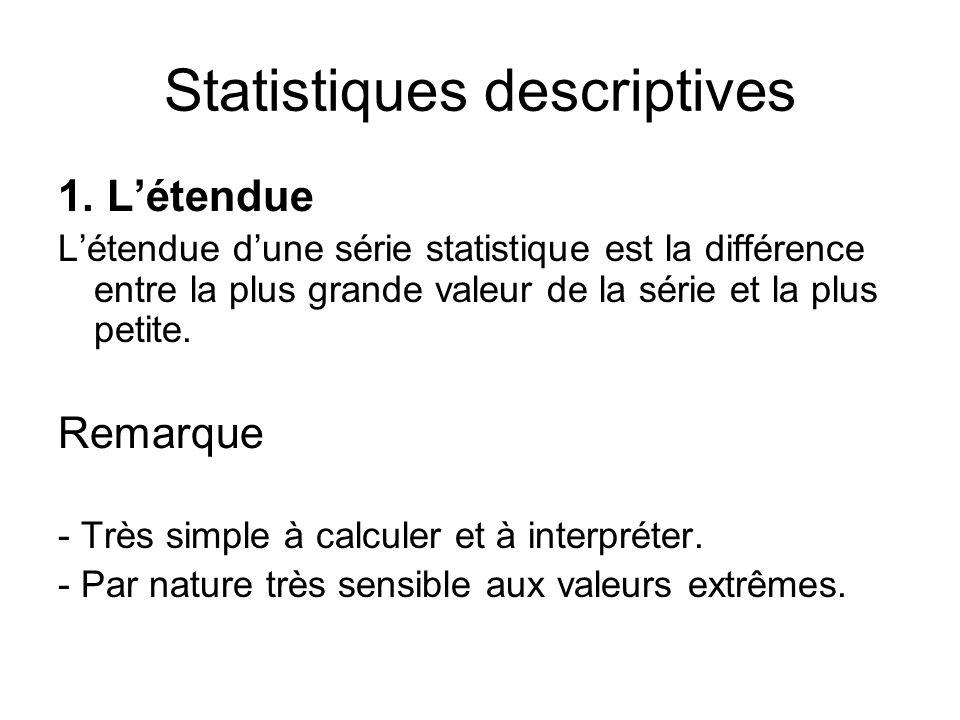 Statistiques descriptives 1. L'étendue L'étendue d'une série statistique est la différence entre la plus grande valeur de la série et la plus petite.