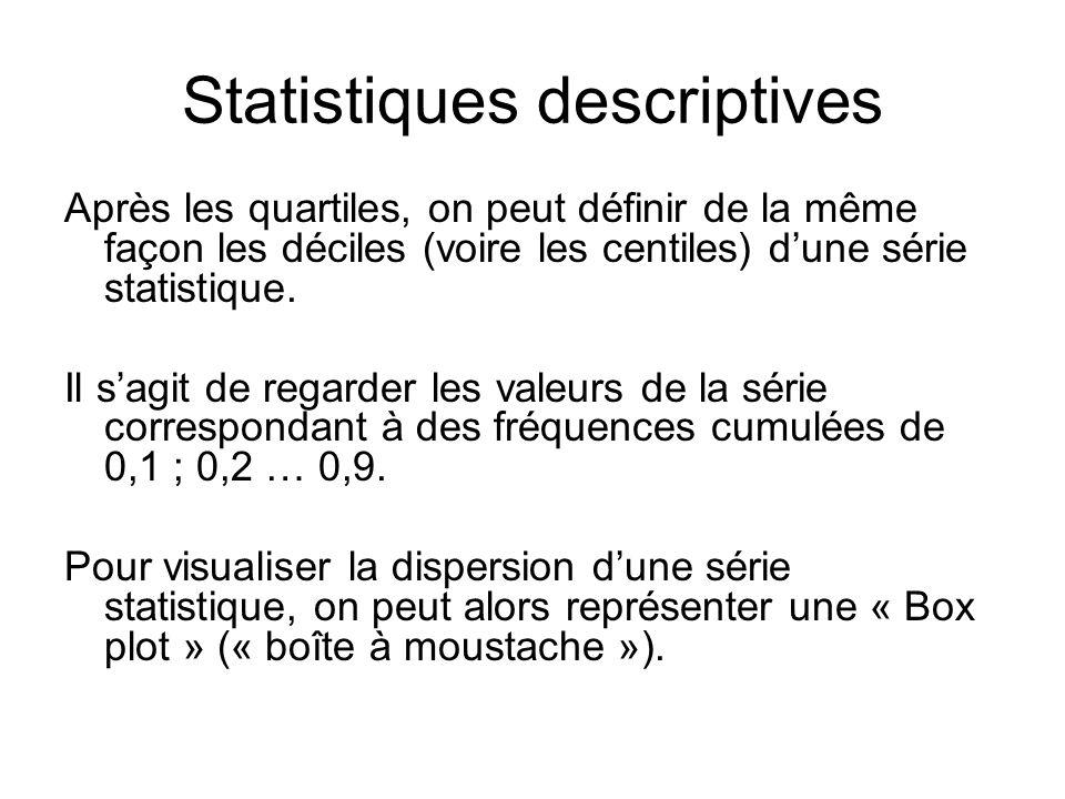 Statistiques descriptives Après les quartiles, on peut définir de la même façon les déciles (voire les centiles) d'une série statistique. Il s'agit de