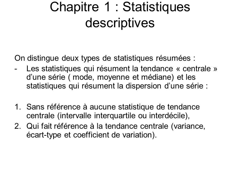 Chapitre 1 : Statistiques descriptives On distingue deux types de statistiques résumées : -Les statistiques qui résument la tendance « centrale » d'un