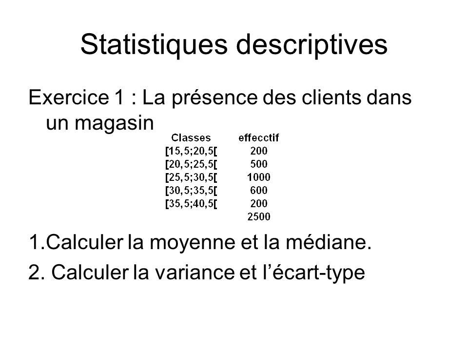 Statistiques descriptives Exercice 1 : La présence des clients dans un magasin 1.Calculer la moyenne et la médiane. 2. Calculer la variance et l'écart