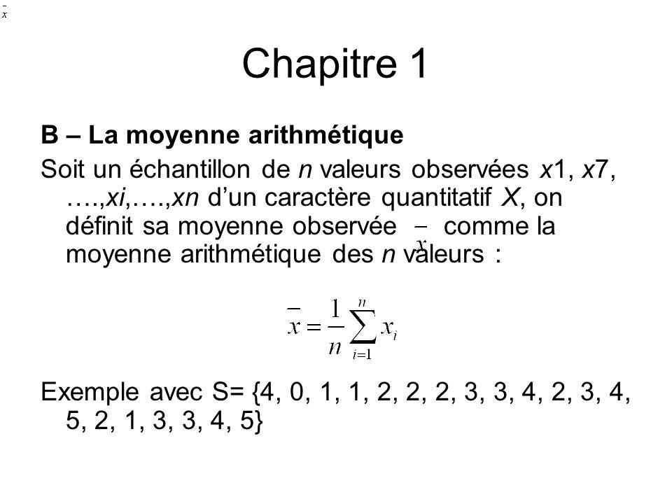 Chapitre 1 B – La moyenne arithmétique Soit un échantillon de n valeurs observées x1, x7, ….,xi,….,xn d'un caractère quantitatif X, on définit sa moye