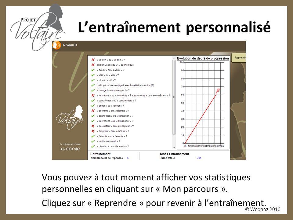 © Woonoz 2010 L'entraînement personnalisé Vous pouvez à tout moment afficher vos statistiques personnelles en cliquant sur « Mon parcours ». Cliquez s