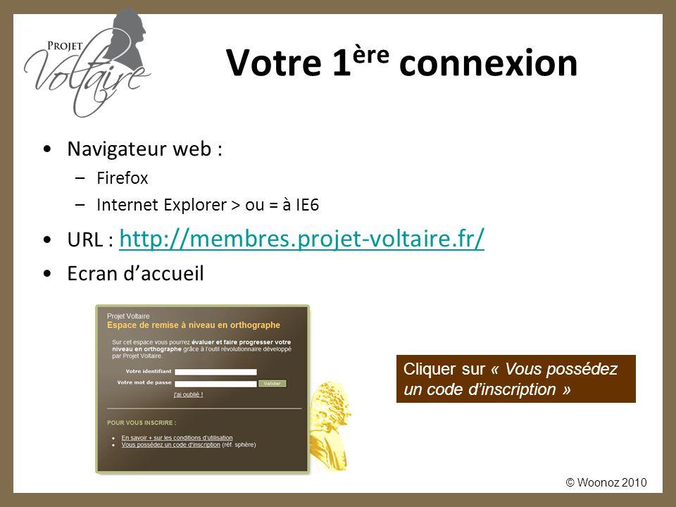© Woonoz 2010 Votre 1 ère connexion Navigateur web : –Firefox –Internet Explorer > ou = à IE6 URL : http://membres.projet-voltaire.fr/ http://membres.