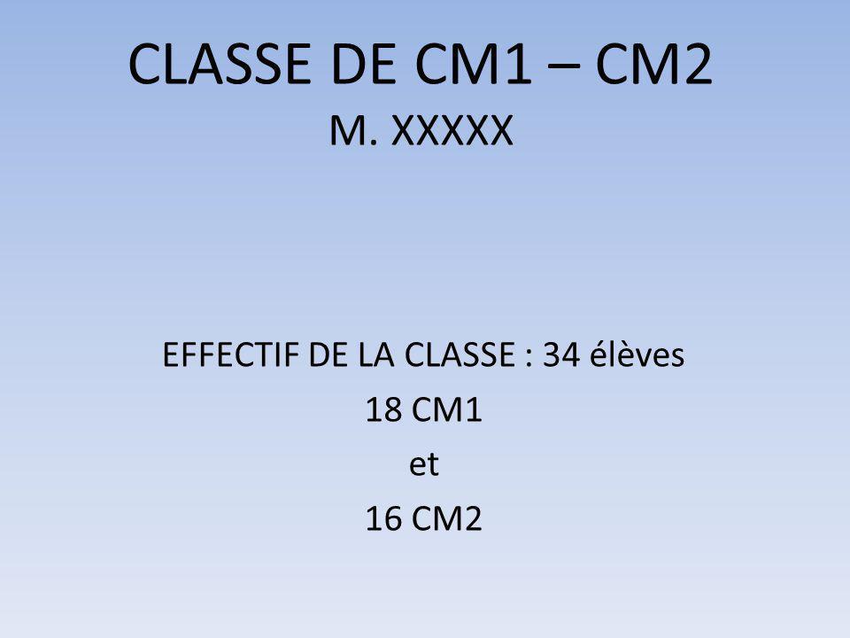 CLASSE DE CM1 – CM2 M. XXXXX EFFECTIF DE LA CLASSE : 34 élèves 18 CM1 et 16 CM2