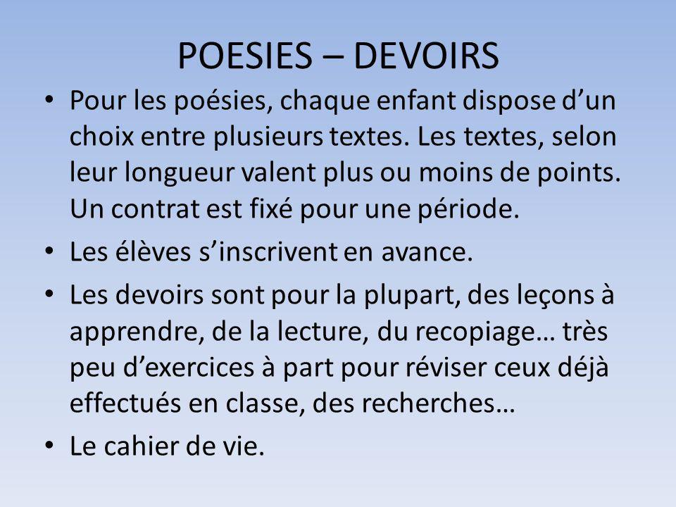 POESIES – DEVOIRS Pour les poésies, chaque enfant dispose d'un choix entre plusieurs textes. Les textes, selon leur longueur valent plus ou moins de p