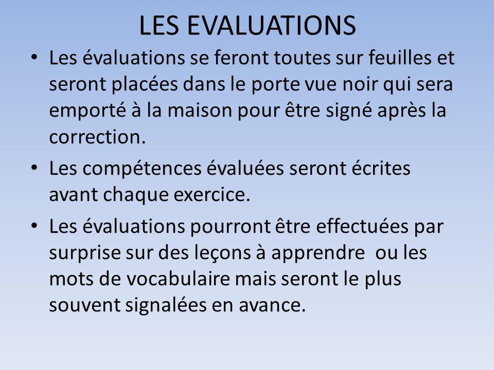 LES EVALUATIONS Les évaluations se feront toutes sur feuilles et seront placées dans le porte vue noir qui sera emporté à la maison pour être signé après la correction.
