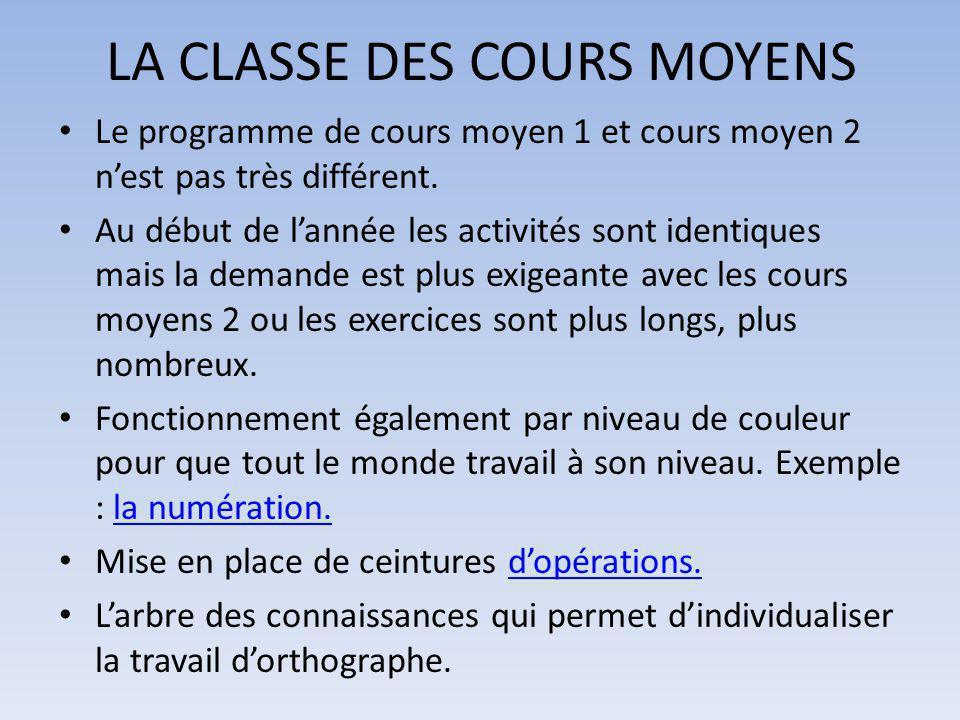 LA CLASSE DES COURS MOYENS Le programme de cours moyen 1 et cours moyen 2 n'est pas très différent. Au début de l'année les activités sont identiques