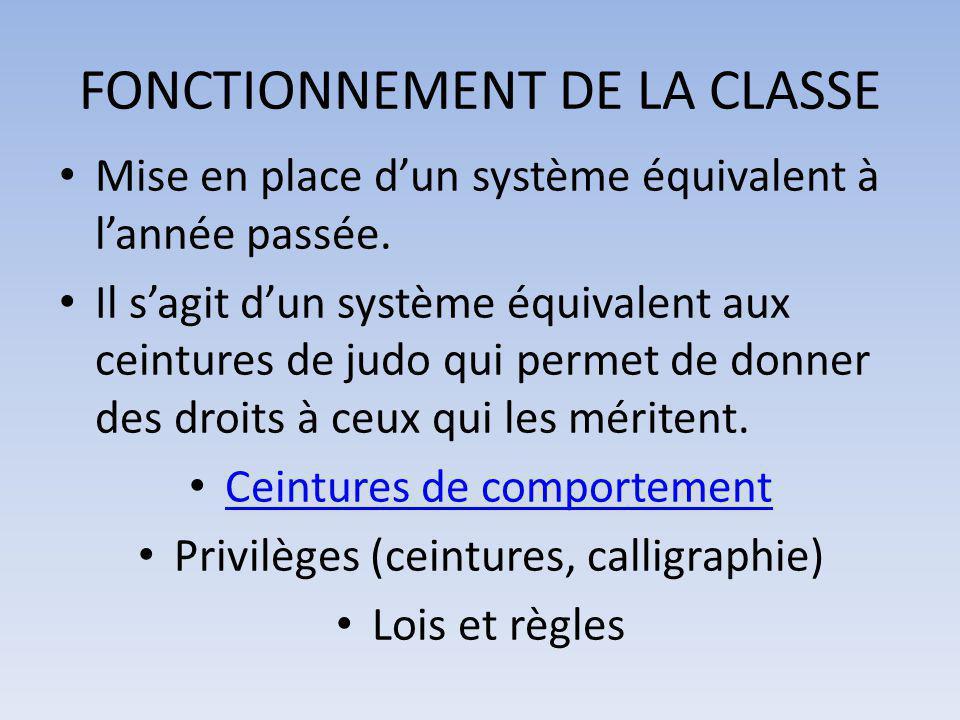 FONCTIONNEMENT DE LA CLASSE Mise en place d'un système équivalent à l'année passée. Il s'agit d'un système équivalent aux ceintures de judo qui permet