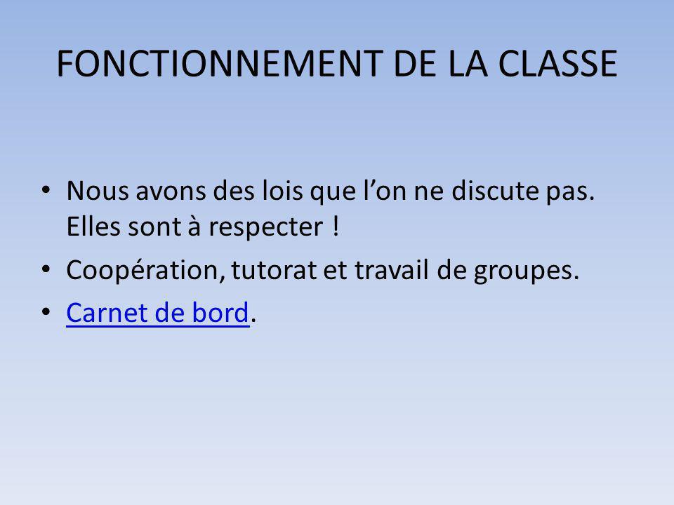 FONCTIONNEMENT DE LA CLASSE Nous avons des lois que l'on ne discute pas. Elles sont à respecter ! Coopération, tutorat et travail de groupes. Carnet d
