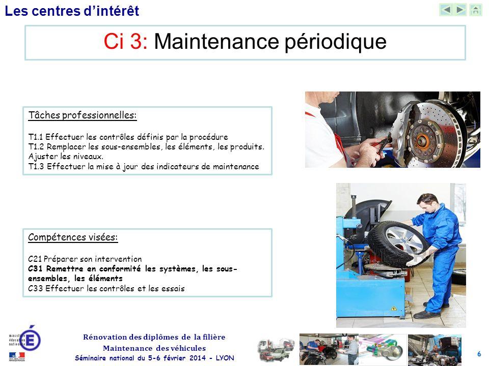 6 Rénovation des diplômes de la filière Maintenance des véhicules Séminaire national du 5-6 février 2014 - LYON Les centres d'intérêt Ci 3: Maintenanc