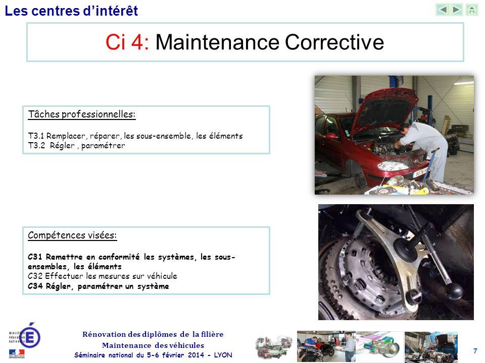 7 Rénovation des diplômes de la filière Maintenance des véhicules Séminaire national du 5-6 février 2014 - LYON Les centres d'intérêt Ci 4: Maintenanc