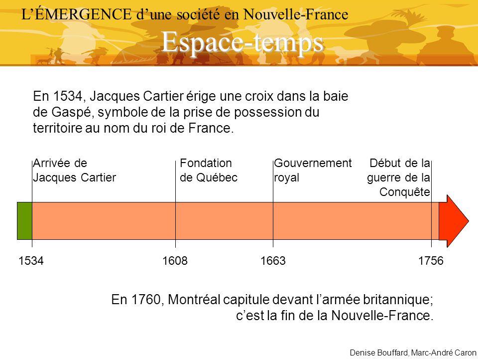 Début de la guerre de la Conquête 153416631756 Arrivée de Jacques Cartier En 1534, Jacques Cartier érige une croix dans la baie de Gaspé, symbole de l