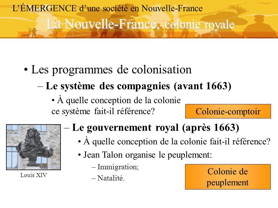 La Nouvelle-France, colonie royale L'ÉMERGENCE d'une société en Nouvelle-France Les programmes de colonisation – Le système des compagnies (avant 1663