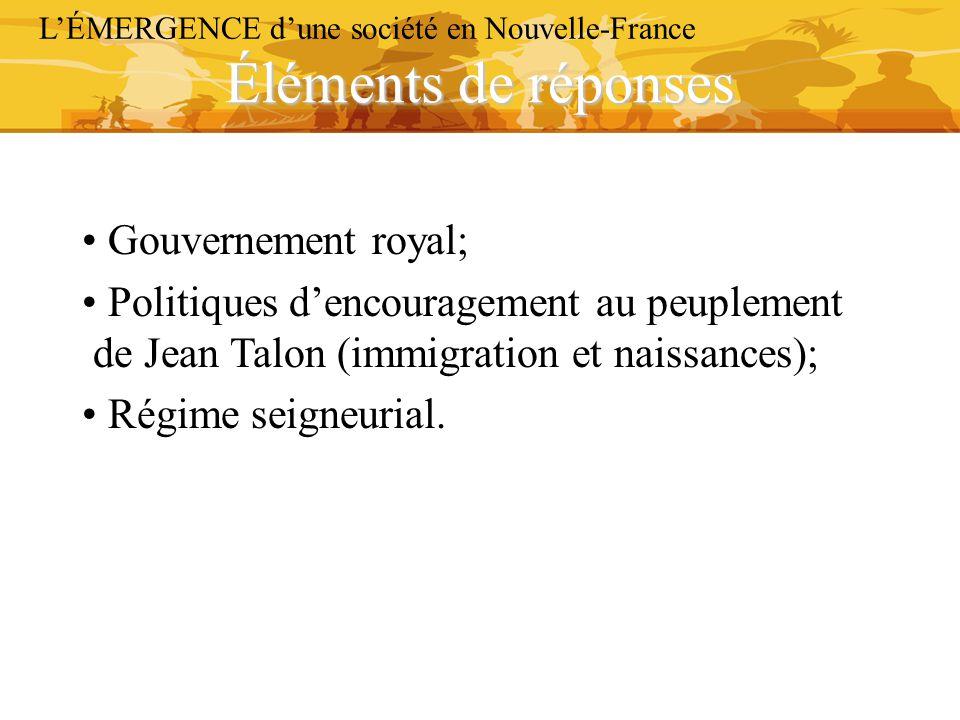Éléments de réponses L'ÉMERGENCE d'une société en Nouvelle-France Gouvernement royal; Politiques d'encouragement au peuplement de Jean Talon (immigrat