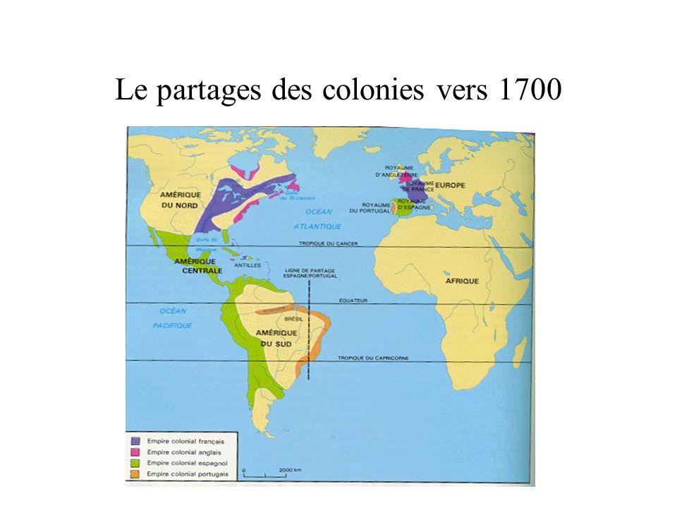 Le partages des colonies vers 1700