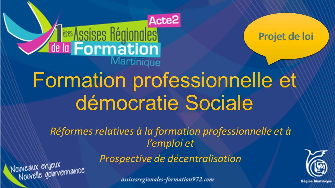 Formation professionnelle et démocratie Sociale Réformes relatives à la formation professionnelle et à l'emploi et Prospective de décentralisation Pro