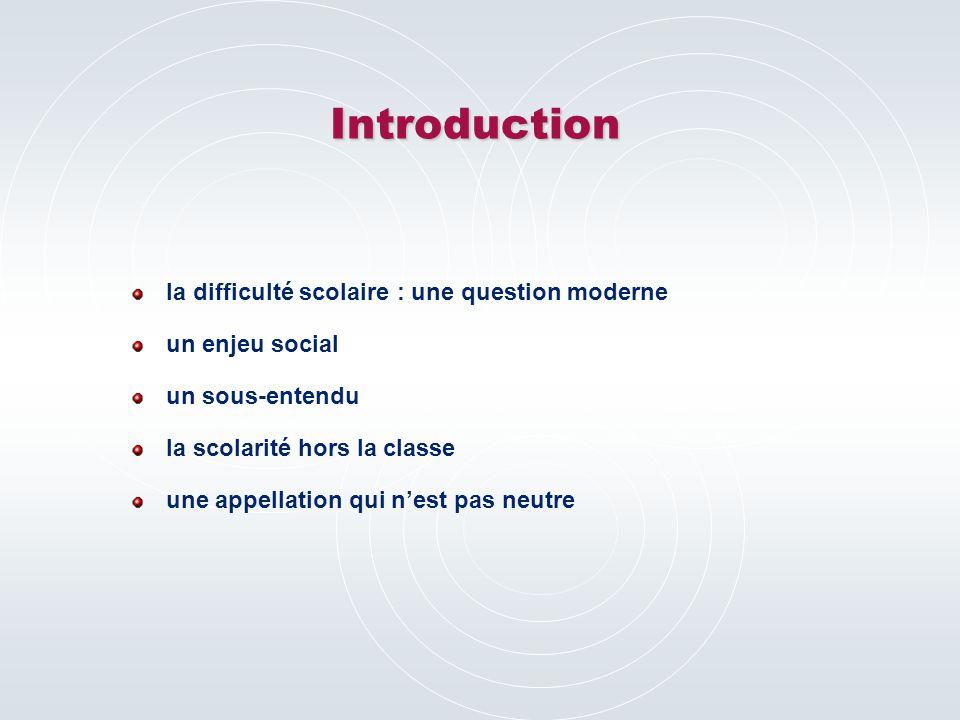 Introduction la difficulté scolaire : une question moderne un enjeu social un sous-entendu la scolarité hors la classe une appellation qui n'est pas neutre