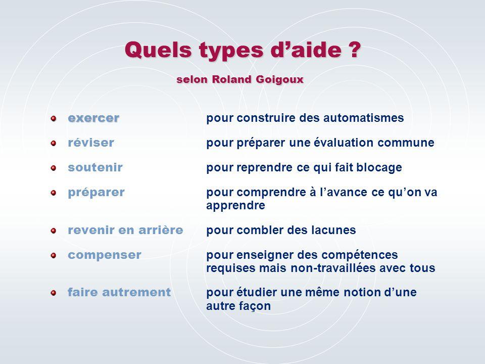 Quels types d'aide . selon Roland Goigoux Quels types d'aide .