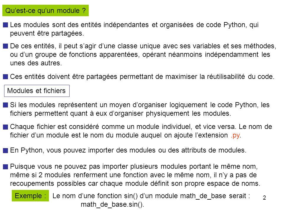 13 Remarque : Pour faire en sorte que Python identifie le nom d'un répertoire comme celui d'un package et non d'un module, il est essentiel que ce répertoire renferme un fichier __init__.
