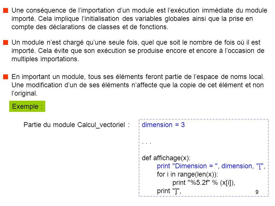 10 Dimension = 3 [ 2.00 3.00 4.00 ] Dimension = 2 Dimension = 3 [ 1.00 2.00 ] import sys sys.path.append( E:\\Calcul_matriciel_et_vectoriel ) from Calcul_vectoriel import dimension, affichage u = [2, 3, 4] affichage(u) dimension = 2 v = [1, 2] print dimension = , dimension affichage(v) print \n Application : Résultats à l'affichage : La variable dimension n'a pas changé de valeur dans le module importé car l'importation d'un module entraîne une copie dans le module qui importe.