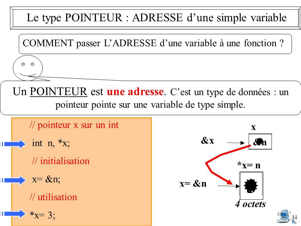 11 Un POINTEUR est une adresse. C'est un type de données : un pointeur pointe sur une variable de type simple. // pointeur x sur un int int n, *x; //