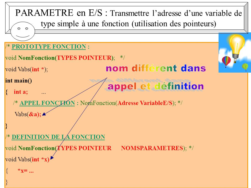 12 /* PROTOTYPE FONCTION : void NomFonction(TYPES POINTEUR); */ void Vabs(int *); int main() { int a;...
