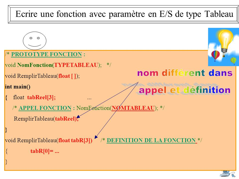 13 /* PROTOTYPE FONCTION : void NomFonction(TYPETABLEAU); */ void RemplirTableau(float [ ]); int main() { float tabReel[3];... /* APPEL FONCTION : Nom