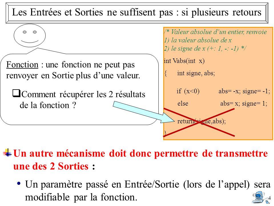 /* Valeur absolue d'un entier, renvoie 1) la valeur absolue de x 2) le signe de x (+: 1, -: -1) */ int Vabs(int x) { int signe, abs; if (x<0)abs= -x; signe= -1; else abs= x; signe= 1; return(signe,abs); } 4 Les Entrées et Sorties ne suffisent pas : si plusieurs retours Fonction : une fonction ne peut pas renvoyer en Sortie plus d'une valeur.
