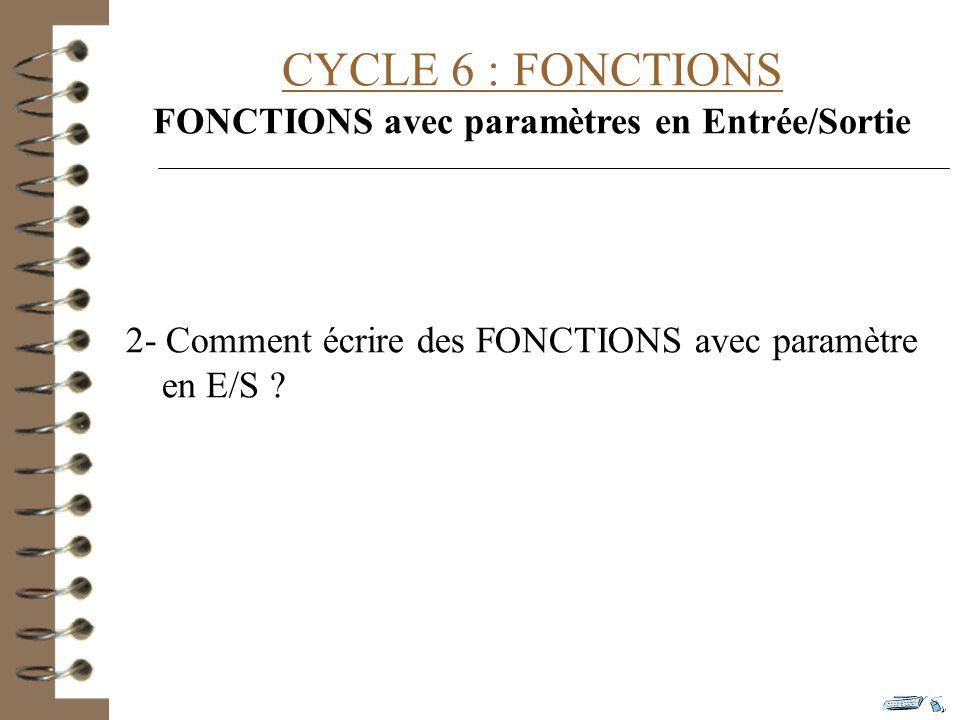 CYCLE 6 : FONCTIONS FONCTIONS avec paramètres en Entrée/Sortie 2- Comment écrire des FONCTIONS avec paramètre en E/S ?