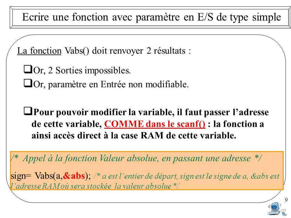 9 Ecrire une fonction avec paramètre en E/S de type simple La fonction Vabs() doit renvoyer 2 résultats :  Or, 2 Sorties impossibles.  Or, paramètre