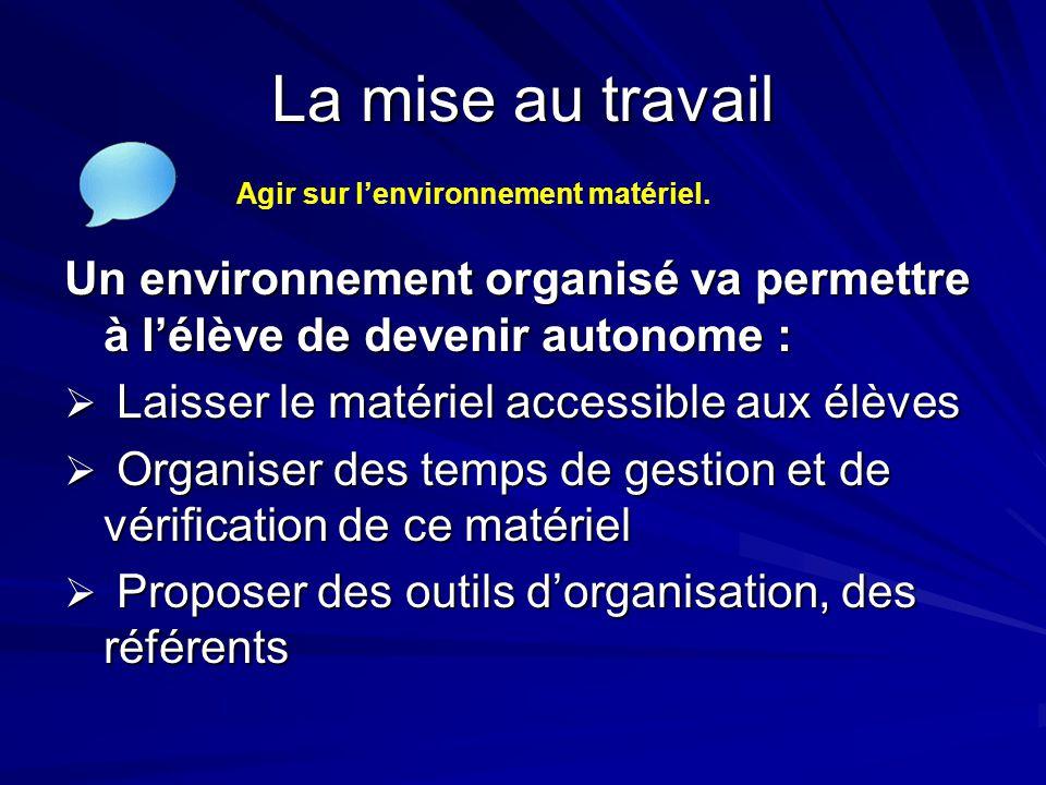 La mise au travail Un environnement organisé va permettre à l'élève de devenir autonome :  Laisser le matériel accessible aux élèves  Organiser des