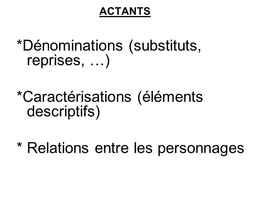 ACTANTS *Dénominations (substituts, reprises, …) *Caractérisations (éléments descriptifs) * Relations entre les personnages