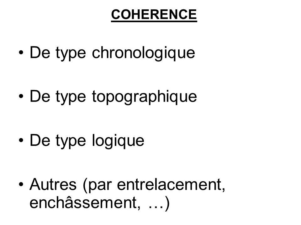 COHERENCE De type chronologique De type topographique De type logique Autres (par entrelacement, enchâssement, …)