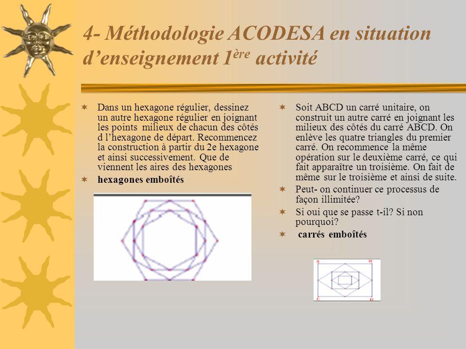 4- Méthodologie ACODESA en situation d'enseignement 1 ère activité  Dans un hexagone régulier, dessinez un autre hexagone régulier en joignant les po