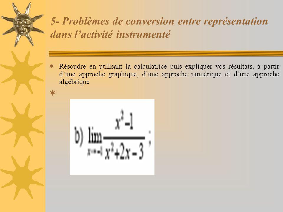 5- Problèmes de conversion entre représentation dans l'activité instrumenté  Résoudre en utilisant la calculatrice puis expliquer vos résultats, à pa