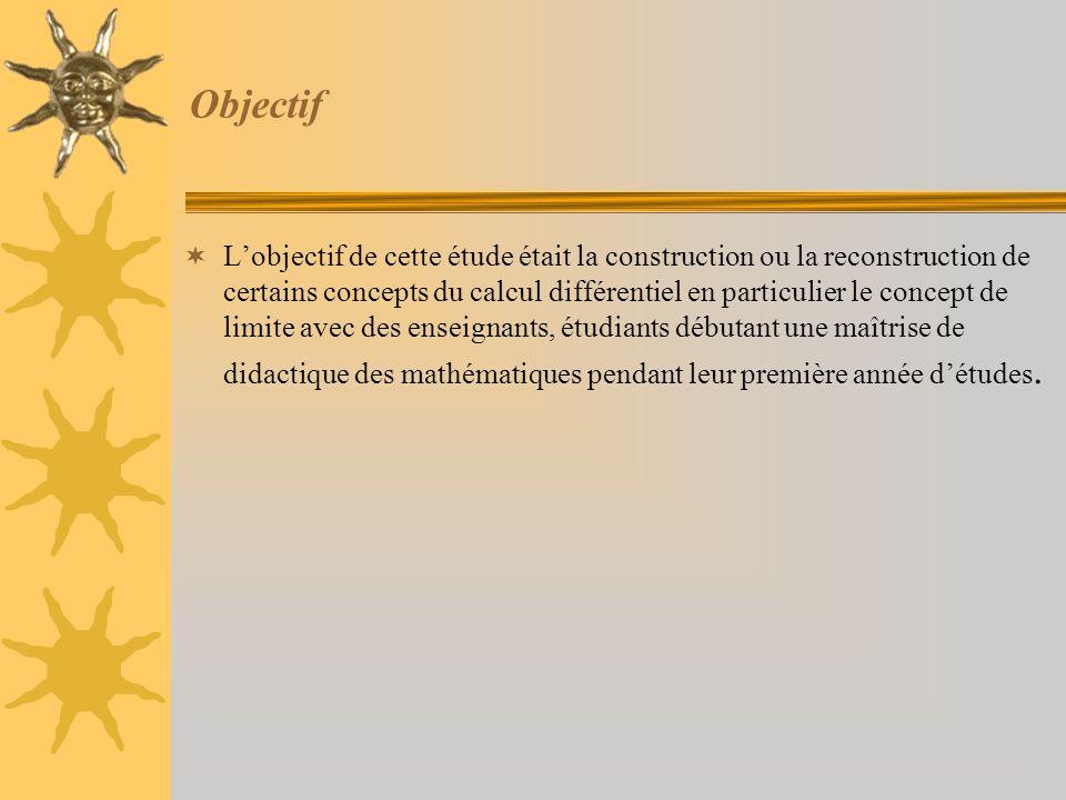 Objectif  L'objectif de cette étude était la construction ou la reconstruction de certains concepts du calcul différentiel en particulier le concept