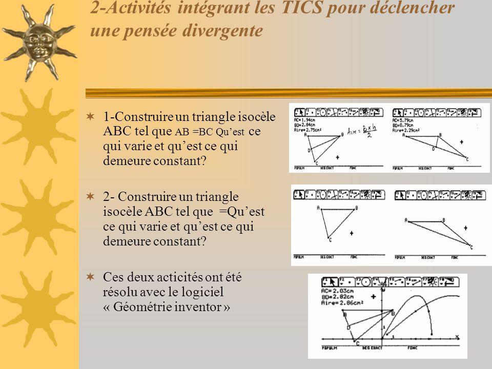 2-Activités intégrant les TICS pour déclencher une pensée divergente  1-Construire un triangle isocèle ABC tel que AB =BC Qu'est ce qui varie et qu'e