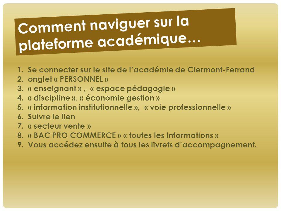 Comment naviguer sur la plateforme académique… 1.Se connecter sur le site de l'académie de Clermont-Ferrand 2.onglet « PERSONNEL » 3.« enseignant », «
