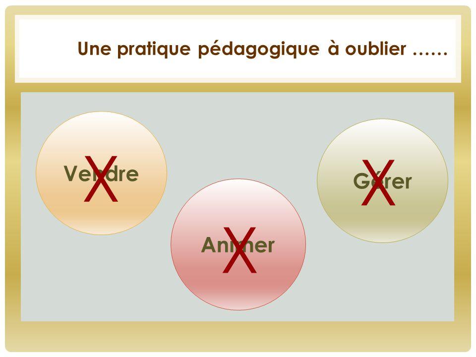 Une pratique pédagogique à oublier …… Vendre Animer Gérer X X X
