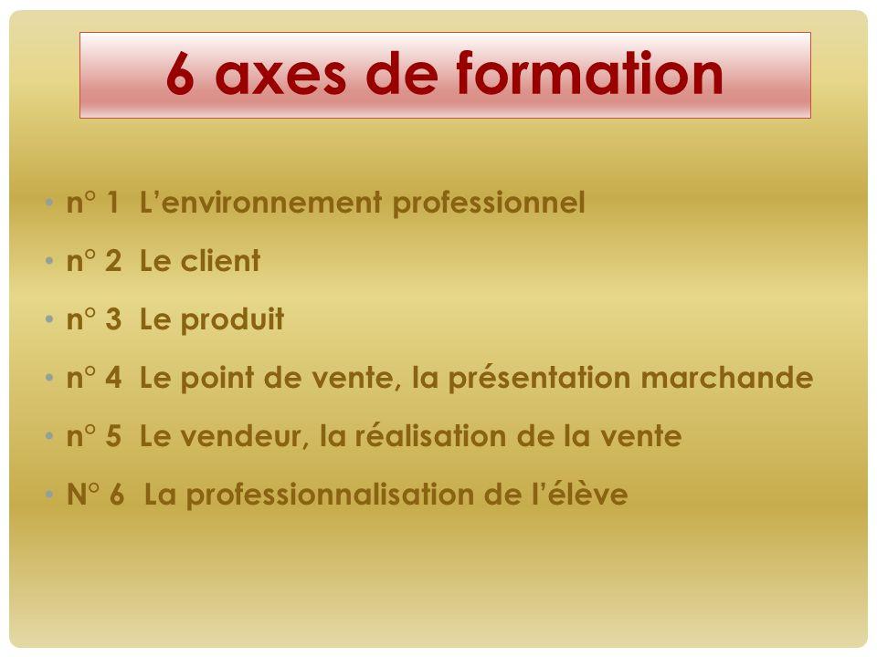 n° 1 L'environnement professionnel n° 2 Le client n° 3 Le produit n° 4 Le point de vente, la présentation marchande n° 5 Le vendeur, la réalisation de