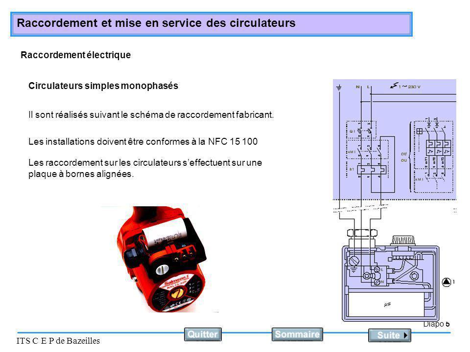 Diapo 6 ITS C E P de Bazeilles Raccordement et mise en service des circulateurs L'installation doit être sous pression et en état de fonctionnement.