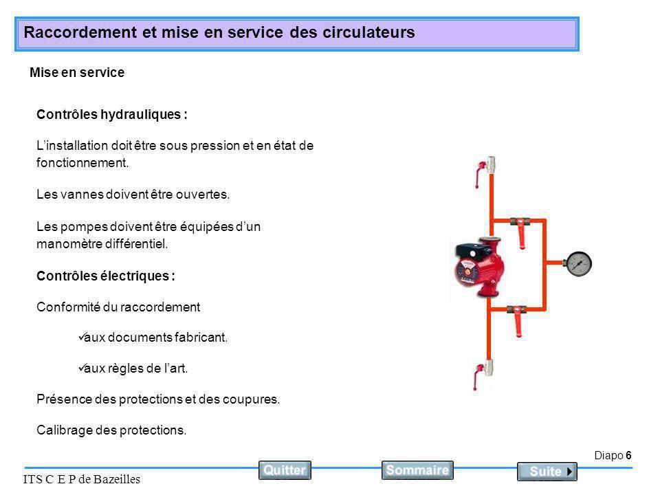 Diapo 7 ITS C E P de Bazeilles Raccordement et mise en service des circulateurs Placer le commutateur sur la position marche.
