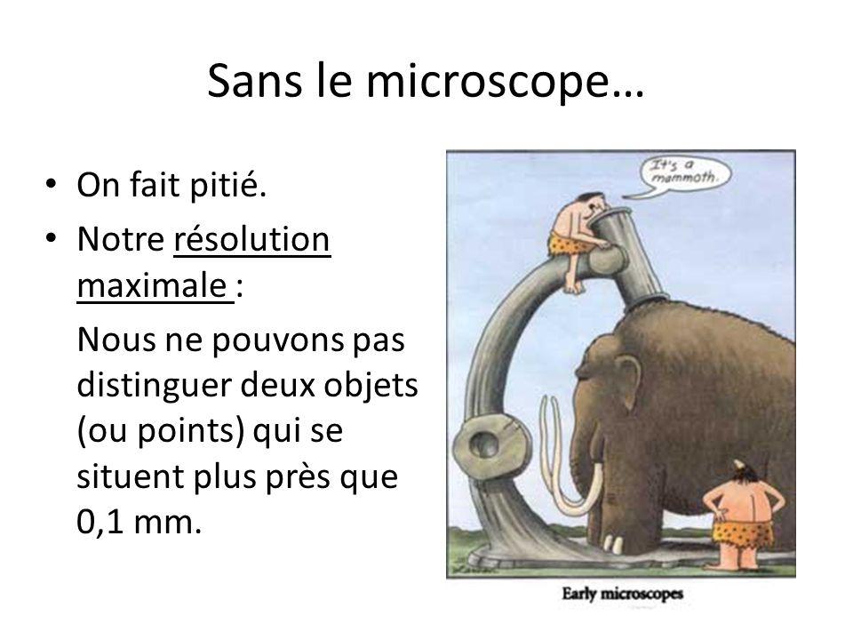 Sans le microscope… On fait pitié. Notre résolution maximale : Nous ne pouvons pas distinguer deux objets (ou points) qui se situent plus près que 0,1