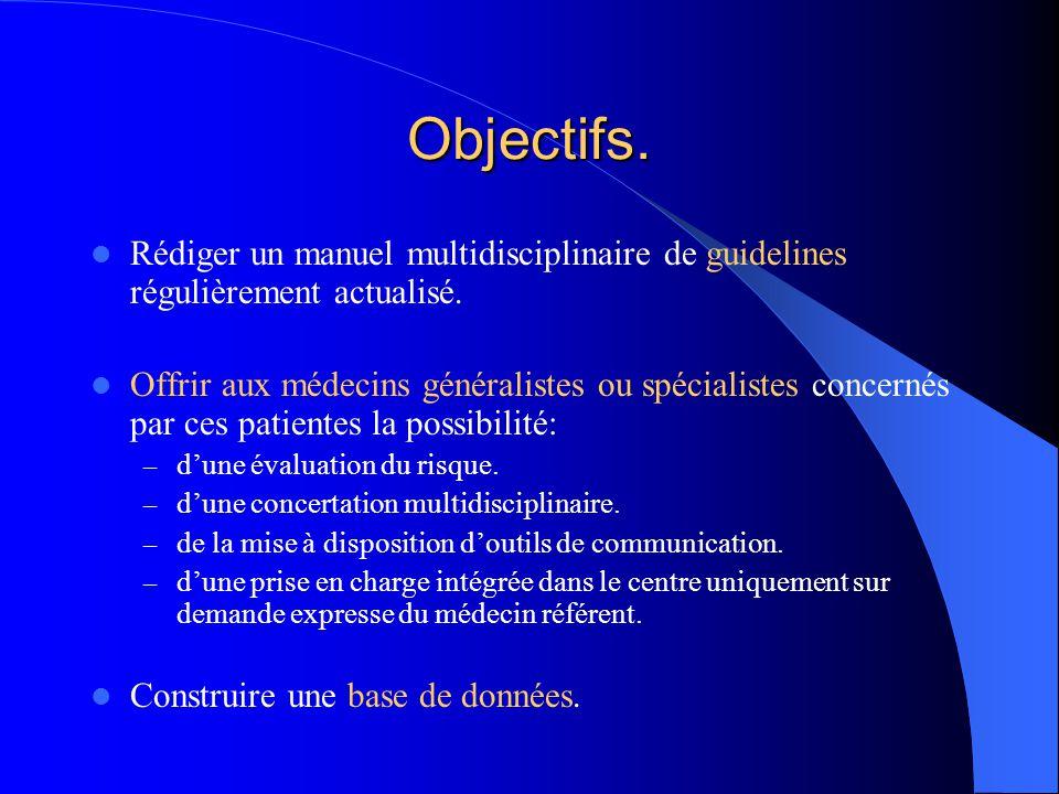 Objectifs. Rédiger un manuel multidisciplinaire de guidelines régulièrement actualisé. Offrir aux médecins généralistes ou spécialistes concernés par