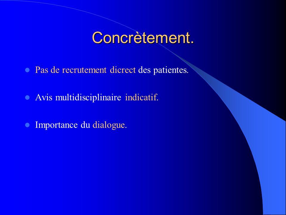 Concrètement. Pas de recrutement dicrect des patientes. Avis multidisciplinaire indicatif. Importance du dialogue.