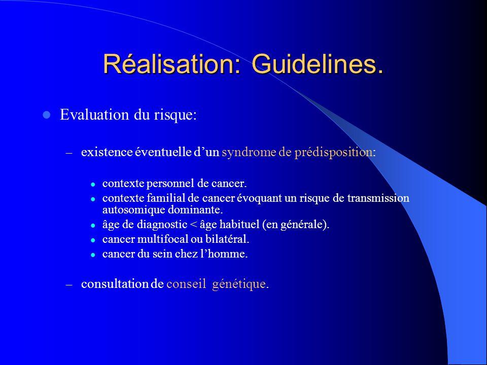 Réalisation: Guidelines. Evaluation du risque: – existence éventuelle d'un syndrome de prédisposition: contexte personnel de cancer. contexte familial