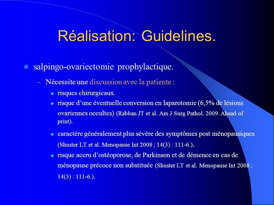Réalisation: Guidelines. salpingo-ovariectomie prophylactique. – Nécessite une discussion avec la patiente : risques chirurgicaux. risque d'une éventu
