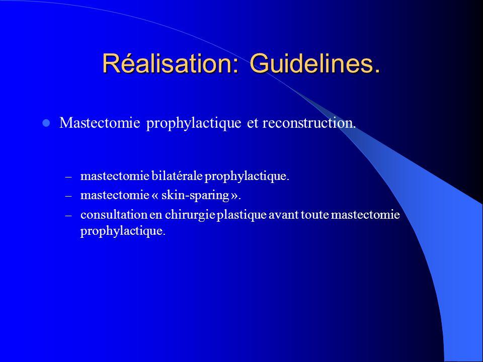 Réalisation: Guidelines. Mastectomie prophylactique et reconstruction. – mastectomie bilatérale prophylactique. – mastectomie « skin-sparing ». – cons
