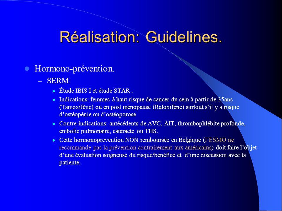 Réalisation: Guidelines. Hormono-prévention. – SERM: Étude IBIS I et étude STAR. Indications: femmes à haut risque de cancer du sein à partir de 35ans